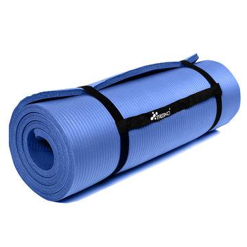 Yoga mat donkerblauw 1 cm dik, fitnessmat, pilates, aerobics