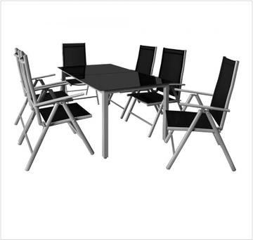 Tuinset aluminium 7-delig zilver-zwart