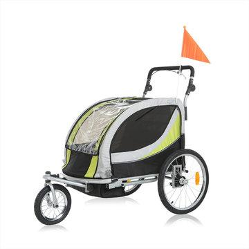 Fietsaanhanger fietskar kinderfietskar, kinderwagen jogger in groen/ grijs, Premium uitvoering
