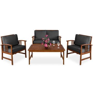 Tuinset hout, Loungeset, Tuinmeubilair, Tuinmeubilair, Tafelbank, acaciahout, antraciet