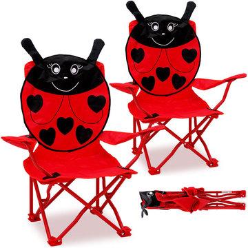 Kinderstoel, set van 2, stoeltjes, rood, lieveheersbeestje
