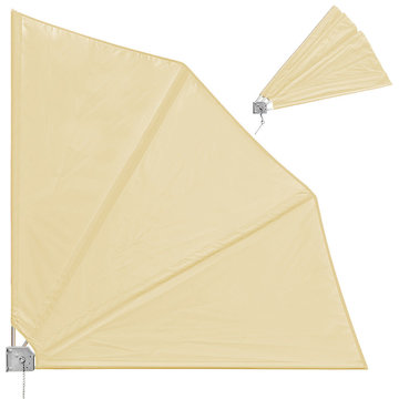 Zonnedoek, balkonscherm, zonnescherm, luifel, balkonparasol, beige, klapbaar, bescherming tegen inkijk