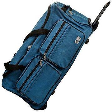 Trolley, reistas, lichtblauw, afsluitbaar, met slot, 85 liter, roltas