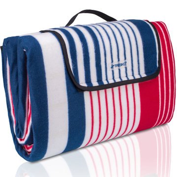 Picknickdeken, rood-wit-blauw, picknickkleed, 200 x 200 m, waterdicht, campingdeken, outdoor plaid, stranddeken