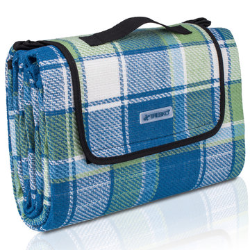 Picknickdeken, ruitmotief, blauw-groen-wit, picknickkleed, 195 x 150 m, waterdicht, campingdeken, outdoor plaid, stranddeken