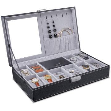 Horlogedoos, sieradendoos, met spiegel, horlogebox, sieradenbox