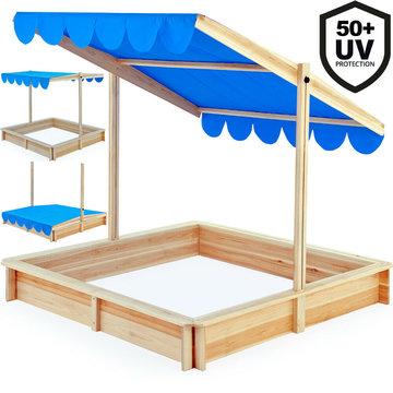 Zandbak, met verstelbaar dak, zitrand, waterafstotend zonnescherm