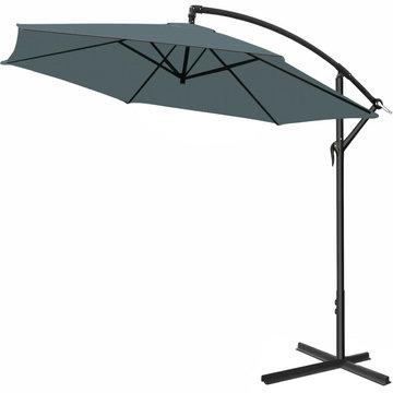 Zweefparasol, antraciet, 330cm, hangparasol, zonnescherm, kantelbaar, zwevende parasol, zonwering