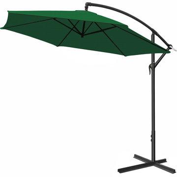 Zweefparasol, groen, 330cm, hangparasol, zonnescherm, kantelbaar, zwevende parasol, zonwering