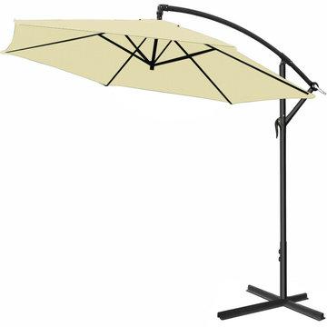 Zweefparasol, beige, 330cm, hangparasol, zonnescherm, kantelbaar, zwevende parasol, zonwering