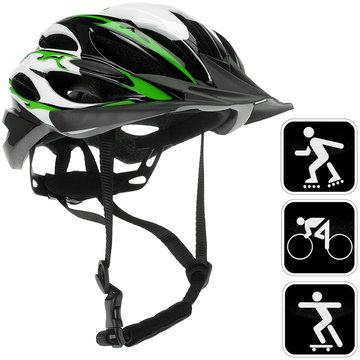 Fietshelm groen/zwart/wit, sporthelm, skatehelm