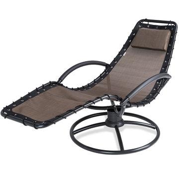 Ligbed met schommelfunctie, mokka, ligstoel, tuinbed, tuinstoel, relaxbed, relaxstoel