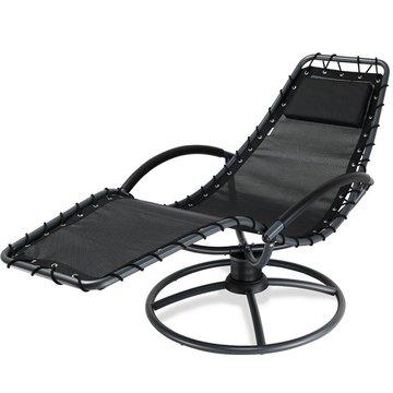 Ligbed met schommelfunctie, antraciet, ligstoel, tuinbed, tuinstoel, relaxbed, relaxstoel