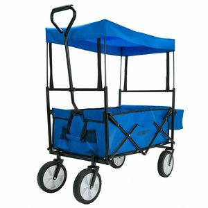 Bolderkar Blauw, handkar, opvouwbaar, afneembaar dak
