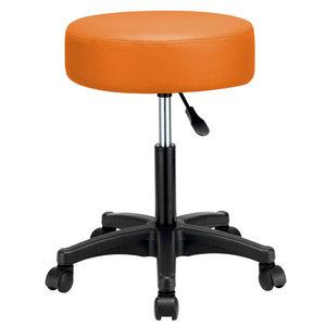 Werkkruk Oranje, krukje, krukje met wielen