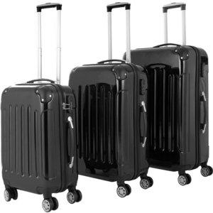 Kofferset zwart, 3 delig, Hardcase