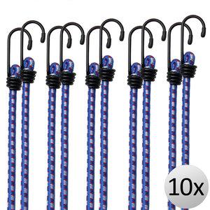 10 x Rubberen Bagagespin, blauw/wit, snelbinder, met haken 30 cm x 8 mm Ø