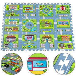 Speelmat, puzzeltapijt, straatmotief, speelkleed