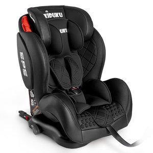Autostoeltje zwart met Isofix, leer, meegroeistoel, kinderstoel, 9 kg - 36 kg, 1-12 jaar