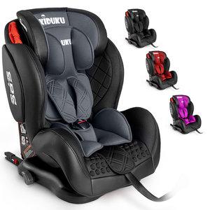 Autostoeltje grijs met Isofix, leer, meegroeistoel, kinderstoel, 9 kg - 36 kg, 1-12 jaar