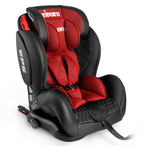 Autostoeltje rood, met Isofix, leer, meegroeistoel, kinderstoel, 9 kg - 36 kg, 1-12 jaar