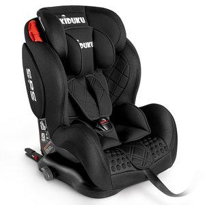 Autostoeltje zwart met Isofix, meegroeistoel, kinderstoel, 9 kg - 36 kg, 1-12 jaar