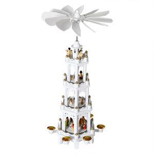 Kerstpiramide, wit hout, 60 cm, kerstdecoratie