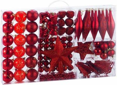 Kerstballenset, 102 delig, rood, kerstdecoratie, kerstversiering