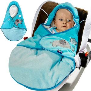 Babydeken met voetenzak, blauw, gevoerd