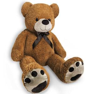 Teddybeer, 100cm, knuffel, knuffelbeer, bruin, met strik, pootafdruk, Valentijn