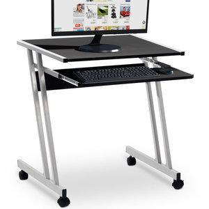 Computertafel op wieltjes, verrijdbaar bureau, zwart