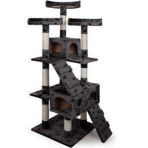 Krabpaal, kattenkrabpaal, kattenpaal, 175 cm, grijs met pootjes motief
