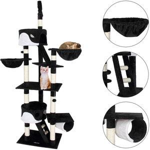 Krabpaal, kattenkrabpaal, kattenpaal, 240-260 cm, zwart/wit