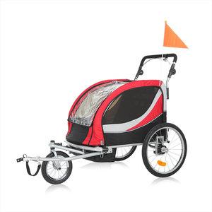 Fietsaanhanger fietskar kinderfietskar, kinderwagen jogger in rood/ grijs, Premium uitvoering