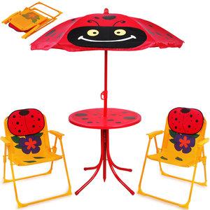 Tuinset, kinderstoelen, inklapbaar, tafel met parasol