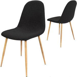 Designstoel met modieuze zwarte stoffen bekleding, eetkamerstoel set van 4, comfortabel met modieuze zwarte stoffen bekleding