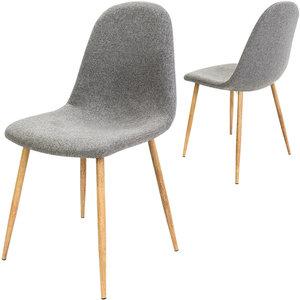 Designstoel met modieuze lichtgrijze stoffen bekleding, eetkamerstoel set van 4, comfortabel