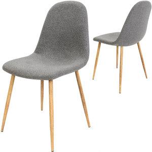 Designstoel met modieuze grijze stoffen bekleding, eetkamerstoel set van 4, comfortabel met modieuze grijze stoffen bekleding
