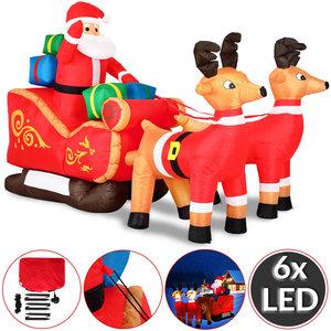 Grote opblaasbare kerstman met arreslee, voor binnen en buiten, met LED verlichting
