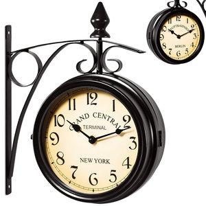 Stationsklok, wandklok, uurwerk, dubbelzijdig, zwart, 2 tijden instelbaar, retro design, voor binnen en buiten