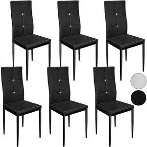 Eetkamerstoelen 6 x, zwart, kunstleer, hoge rugleuning, comfortabel
