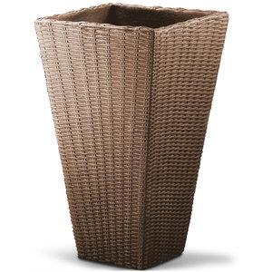 Bloembak, plantenbak, gevlochten, taupe, vierkant, voor binnen en buiten