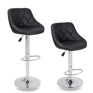 Barkrukken Zwart, 2-delige set, 60-80 cm verstelbaar, 360 graden vrij draaibaar