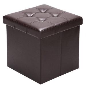 Poef, hocker, Bruin 38x38x38 cm, zitbank met opbergsysteem, opvouwbaar