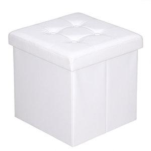 Poef, hocker, Wit 38x38x38 cm, zitbank met opbergsysteem, opvouwbaar