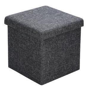 Poef, hocker, donkergrijs 38x38x38 cm, zitbank met opbergsysteem, opvouwbaar