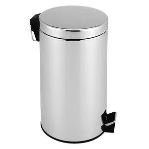 Pedaalemmer 12 liter, roestvrijstaal, hoogglans, afvalemmer, vuilnisbak, vuilemmer