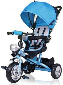 """Driewieler blauw """"Raceline"""" met duwstang, vouwdak, vouwbanken, mand"""