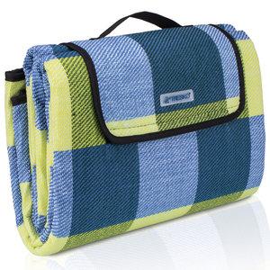 Picknickdeken, ruitmotief, geel-blauw, picknickkleed, 195 x 150 m, waterdicht, campingdeken, outdoor plaid, stranddeken